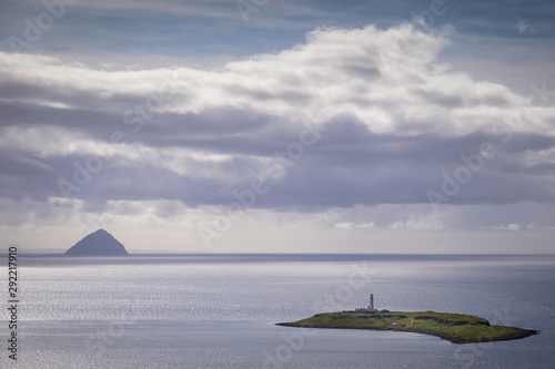 Photo view from above of ailsa craig and pladda island