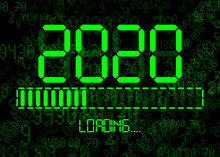 Happy New Year 2020 With Loading Icon In Flat Green Led Neon Digital Time Style. Display Progress Bar Almost Reaching New Year's Eve. Isolated On Abstract Binary Computer Code Technology Background