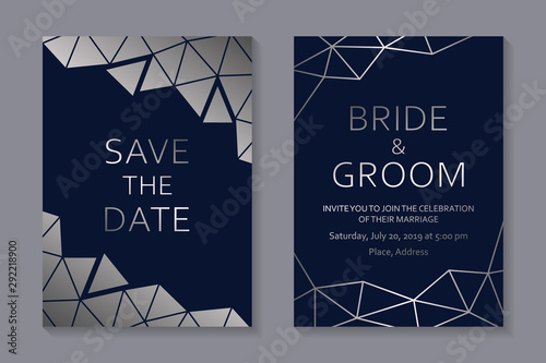 Set of modern geometric luxury wedding invitation design or card templates for business or presentation or greeting with silver polygonal lines on a navy blue background Canvas-taulu