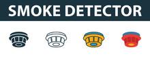Smoke Detector Icon Set. Premi...