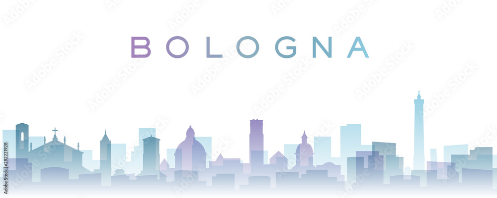 Fototapety, obrazy: Bologna Transparent Layers Gradient Landmarks Skyline