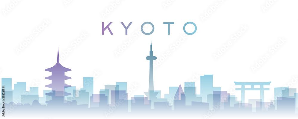 Fototapety, obrazy: Kyoto Transparent Layers Gradient Landmarks Skyline