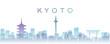 Leinwanddruck Bild - Kyoto Transparent Layers Gradient Landmarks Skyline