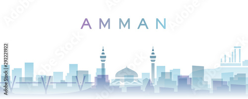 Amman Transparent Layers Gradient Landmarks Skyline Canvas Print