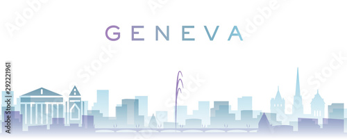 Foto Geneva Transparent Layers Gradient Landmarks Skyline