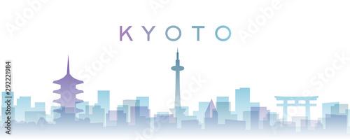 Naklejka premium Kioto przezroczyste warstwy Gradient punktów orientacyjnych Skyline