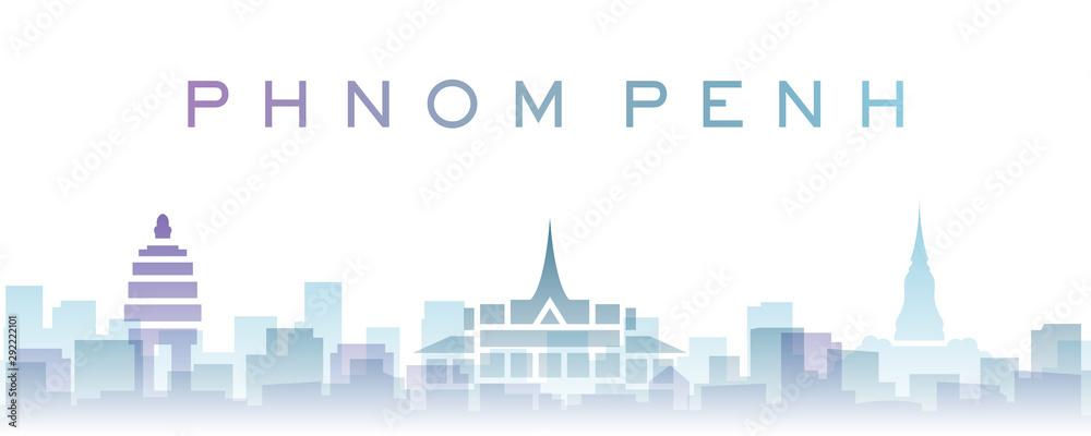 Fototapety, obrazy: Phnom Penh Transparent Layers Gradient Landmarks Skyline
