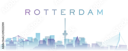 Foto auf AluDibond Rotterdam Rotterdam Transparent Layers Gradient Landmarks Skyline