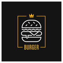 Burger Linear Logo. Design Of Burger Icon In Frame