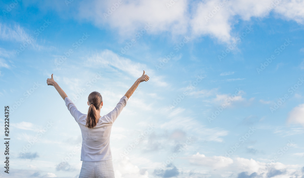 Fototapeta Happy woman outdoors living in a healthy state of mind