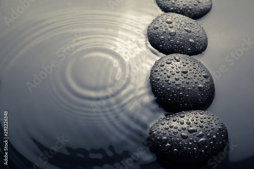 Canvas Print shiny zen stones with water drops. Top view