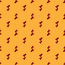 Red Aviation Bomb Icon Isolated Seamless Pattern On Brown Background. Rocket Bomb Flies Down. Vector Illustration