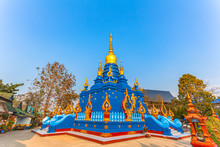 Scenery Sunrise Above The Blue Temple Wat  Rong Sua Ten In Chiang Rai Thailand