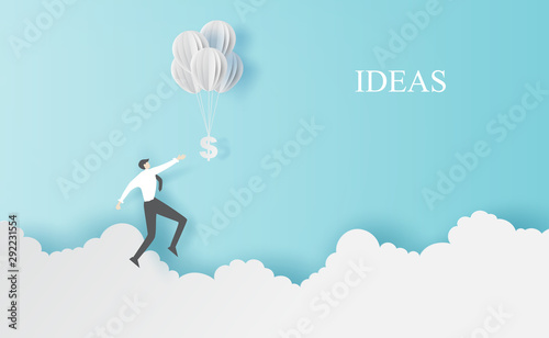 Foto auf AluDibond Pool Business man Jump to hold money balloons on clouds sky landscape.Creative paper cut and craft style.People finance success concept.Graphic minimal simple idea space for your text.vector illustration