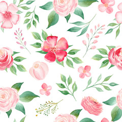 Summer bloomy flowers bouquet seamless watercolor raster pattern