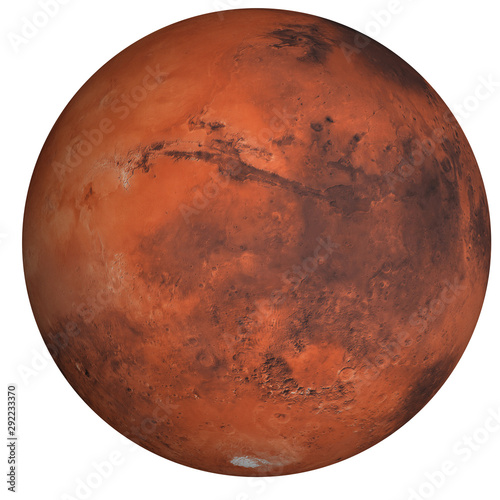 Fotografia High detailed Mars planet of solar system with south pole side isolated on white background