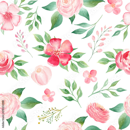 Summer bloomy flowers bouquet seamless watercolor raster pattern - 292233388