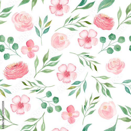 Türaufkleber Künstlich Blooming seasonal pink flowers seamless watercolor raster pattern