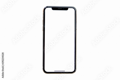 Photo  Studio shot of Smartphone  similar to iphoneX with blank white screen for Infographic Global Business Plan, model iPhone 11 Pro or iPhone x Max