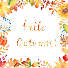 Hello Autumn Watercolor Raster Banner Template With Lettering