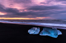 Sunset With Blocks Of Ice In Black Sand Beach, Iceland