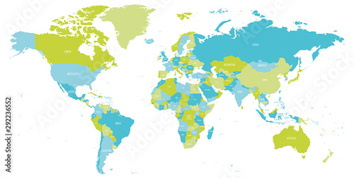 Map of World in shades of green and blue. High detail political map with country names. Vector illustration