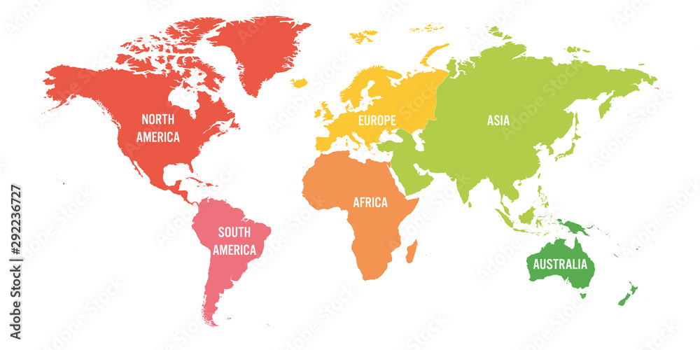 Fototapeta World map divided into six continents. Each continent in different color. Simple flat vector illustration