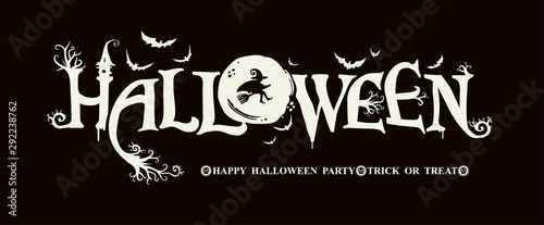Fotografia, Obraz Halloween horizontal banner with vector logo on a black background