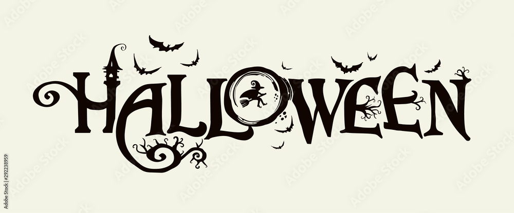 Fototapeta Halloween horizontal banner with vector logo. The inscription with ominous tree branches, bats and a pretty witch on a background of the full moon.