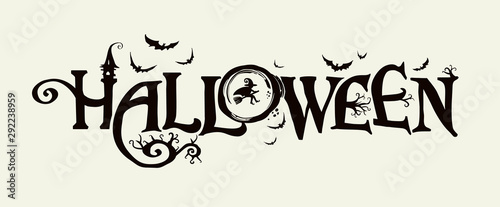 Obraz na plátne Halloween horizontal banner with vector logo