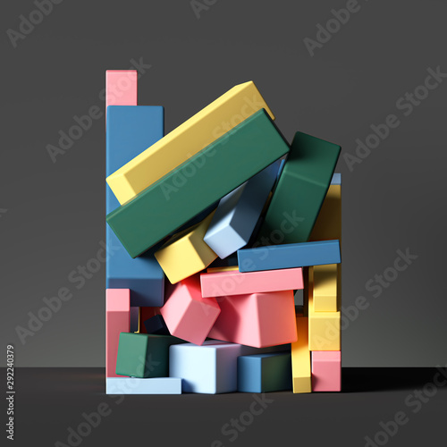 Photo 3d colorful geometric shapes isolated on black, abstract background, stack of cu