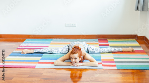 Deurstickers Ontspanning woman workout yoga on bad at home, Female doing exercise body in bedroom