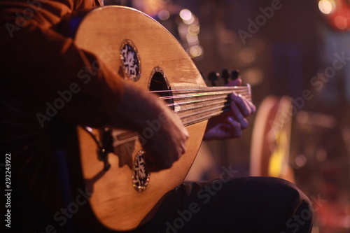 Traditional Instrument from Middle East and Asia called Oud or Ud. A Musician Playing Note on Oud - 292243922