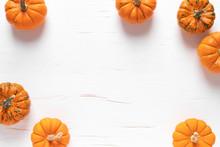 Small Decorative Pumpkins On W...