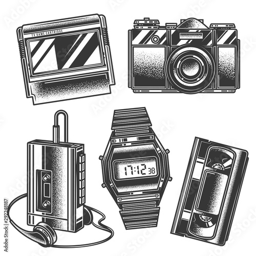 Valokuva  Original monochrome vector retro set of illustrations in the style of the 80s and 90s