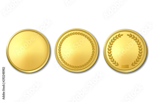 Fototapeta Vector 3d Realistic Golden Metal Blank Coin Icon Set Closeup Isolated on White Background. Design Template, Clipart of Gold Money, Medal, Currensy for Mockup. Financial, Business Concept. Top View obraz