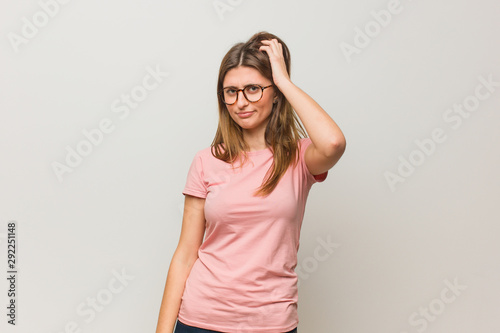 Young russian natural girl worried and overwhelmed Canvas Print