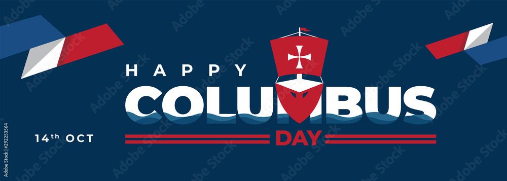 Fototapeta Columbus Day With Ship Poster Illustration