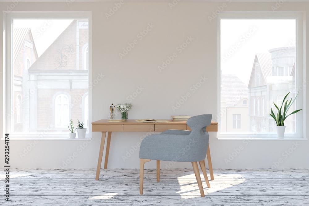 Fototapeta home interior in scandinavian style. Mock-up interior. 3d Illustration.