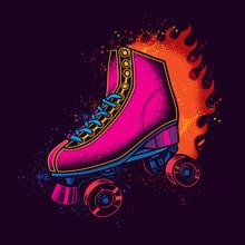 Original Vector Illustration Of Vintage Neon Roller Skates On A Bright Fire Background