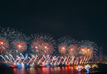 Hong Kong Firework Show On Victoria Harbor
