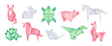 Origami Collection Of Various Magical Animals. Pink, Green, White Colors. Hand Drawn Watercolour Stylized Illustration On White Background, Cutout Clip Art Elements For Creative Design Decoration.