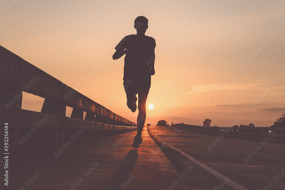 Fototapety, obrazy: Athlete runner feet running on road, Jogging at outdoors. Man running for exercise.Sports and healthy lifestyle concept.