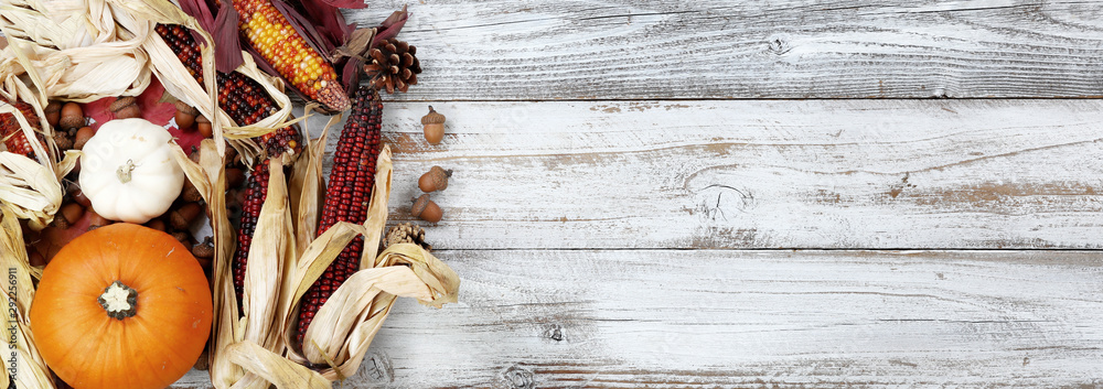 Fototapeta Autumn holiday concept with corn, gourd, pumpkin and acorns on white wood background in overhead view