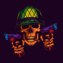 Original Neon Vector Illustration Of A Military Skull In A Helmet With A Cigar In His Teeth And Two Guns In His Hands