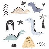 Fototapeta Dinusie - dinosaur scandinavian drawing set design vector illustration pack collections. Cute characters.