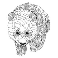 Panda Bear. Hand Drawn Picture. Sketch For Anti-stress Adult Coloring Book In Zentangle Style. Vector Illustration  For Coloring Page, Isolated On Background. Template For Poster, T-shirt Or Tattoo.