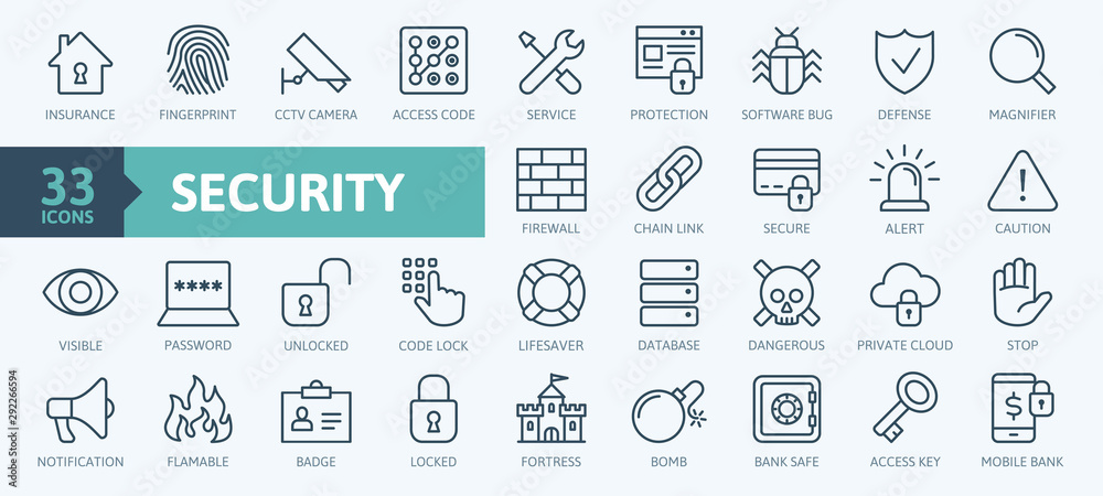 Fototapeta Security - outline web icon set, vector, thin line icons collection