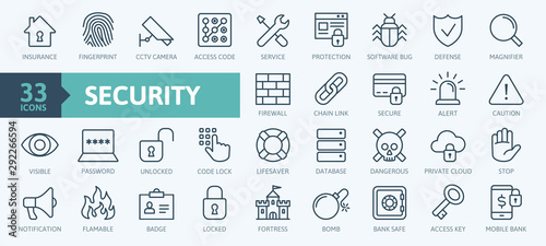 Fototapeta Security - outline web icon set, vector, thin line icons collection obraz