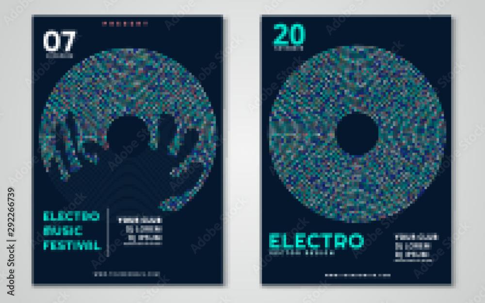 Fototapeta Electronic music festival minimal poster design. Vector illustration